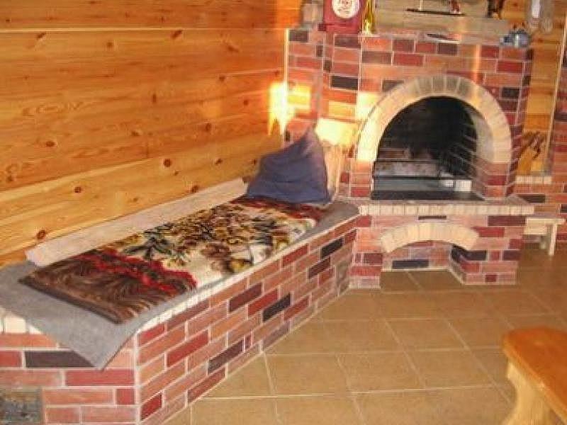 Печка из кирпича с облицовкой плиткой