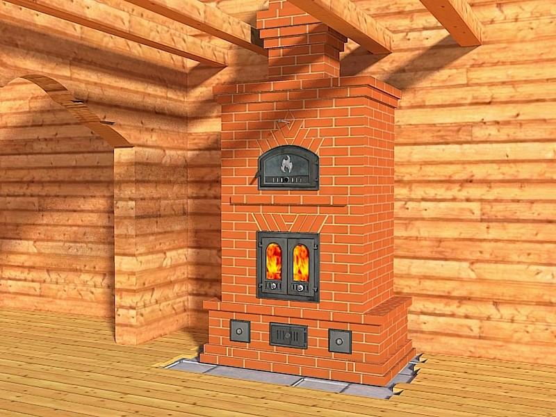 Проект печи-камина в доме из бруса