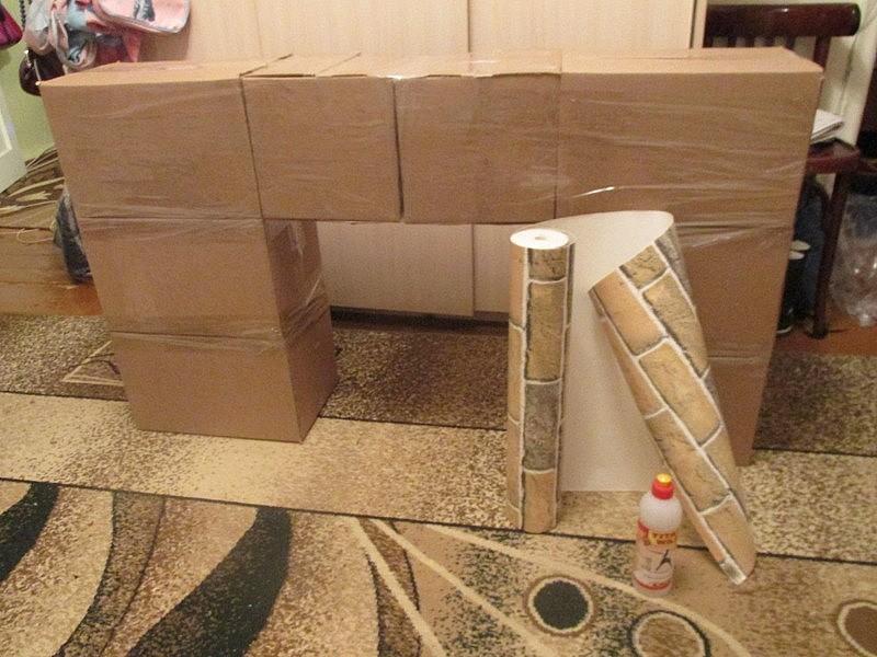 Каминный портал со множества коробок