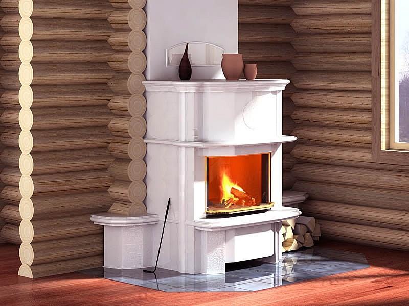 Белый камин с дымоходом в доме из бруса