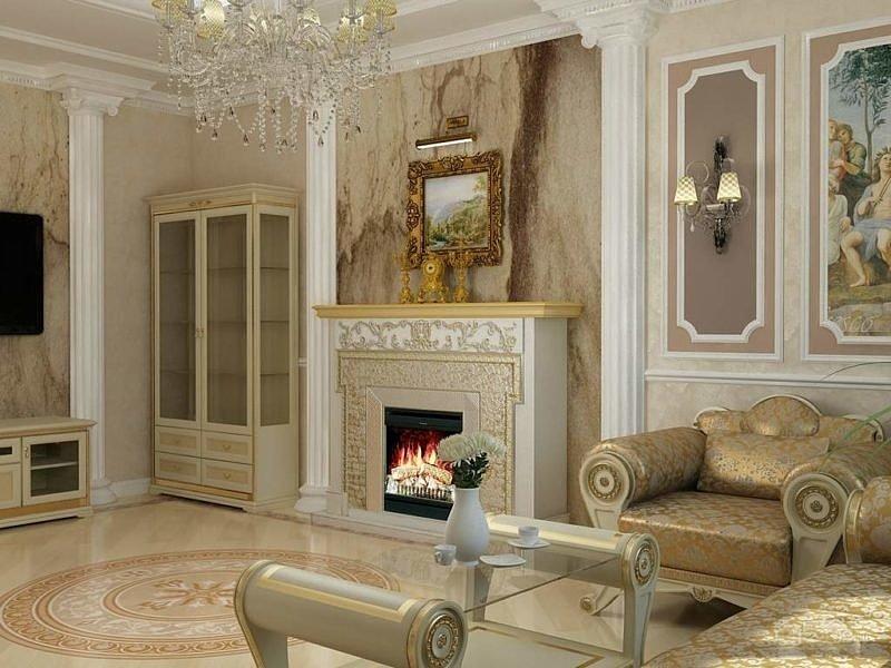 гостиной в классическом стиле с камином фото положительные