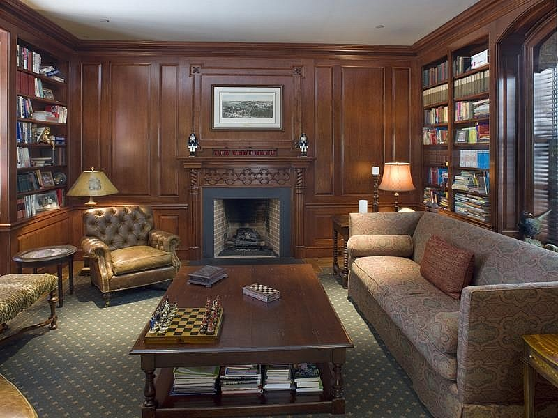 Библиотека с камином фото